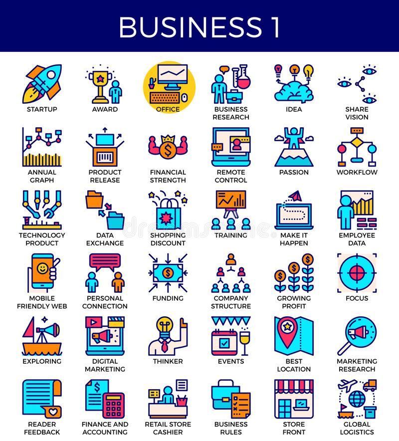 Business essential icons. Business essential line icons set in modern line icon style for ui, ux, website, web, app graphic design vector illustration