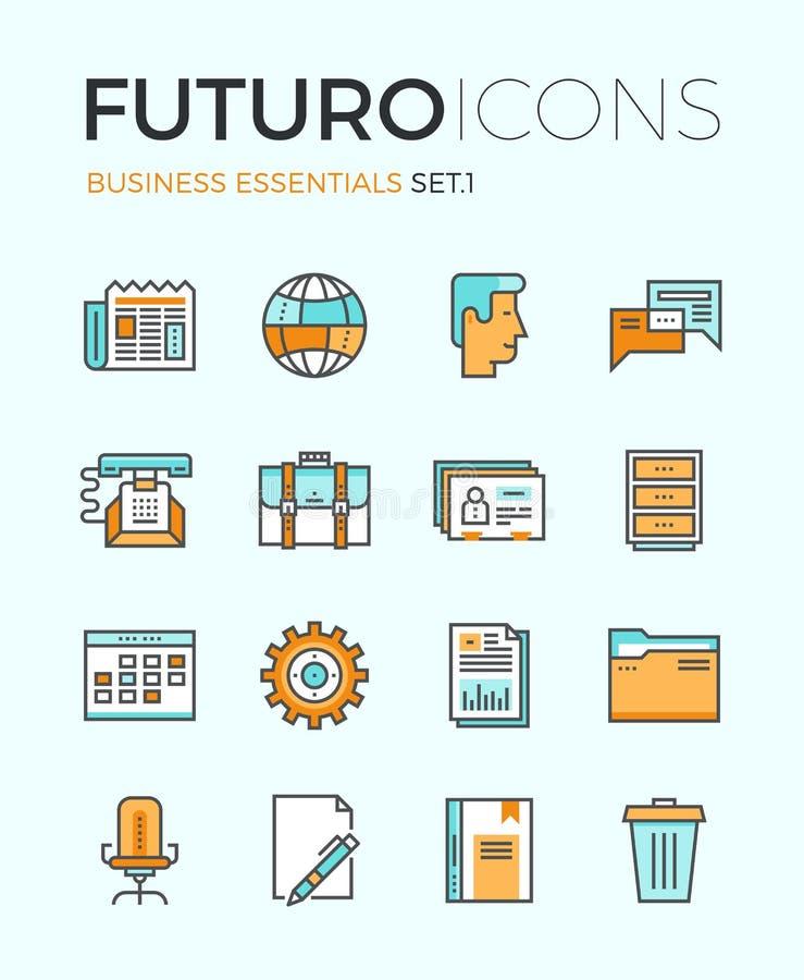 Business essentials futuro line icons royalty free illustration