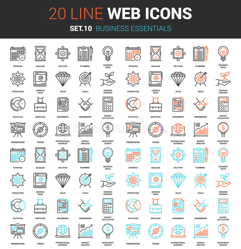 Business Essentials Icons stock illustration