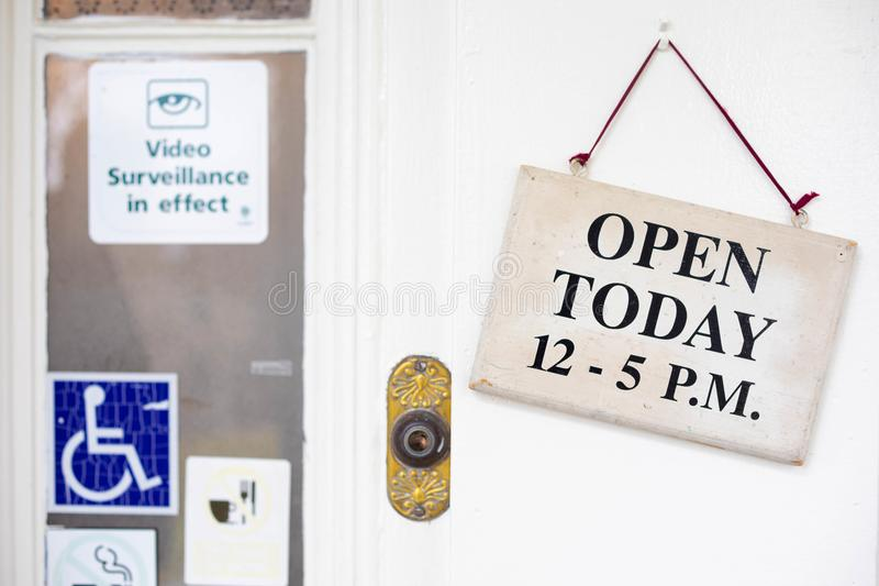 Business establishment with `Open Today` sign stock image