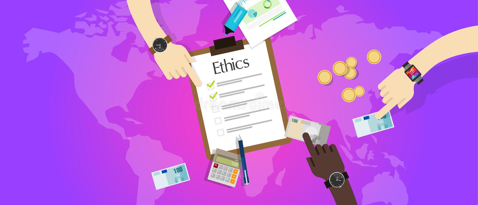 Business ethic ethical company corporate concept. Vector vector illustration