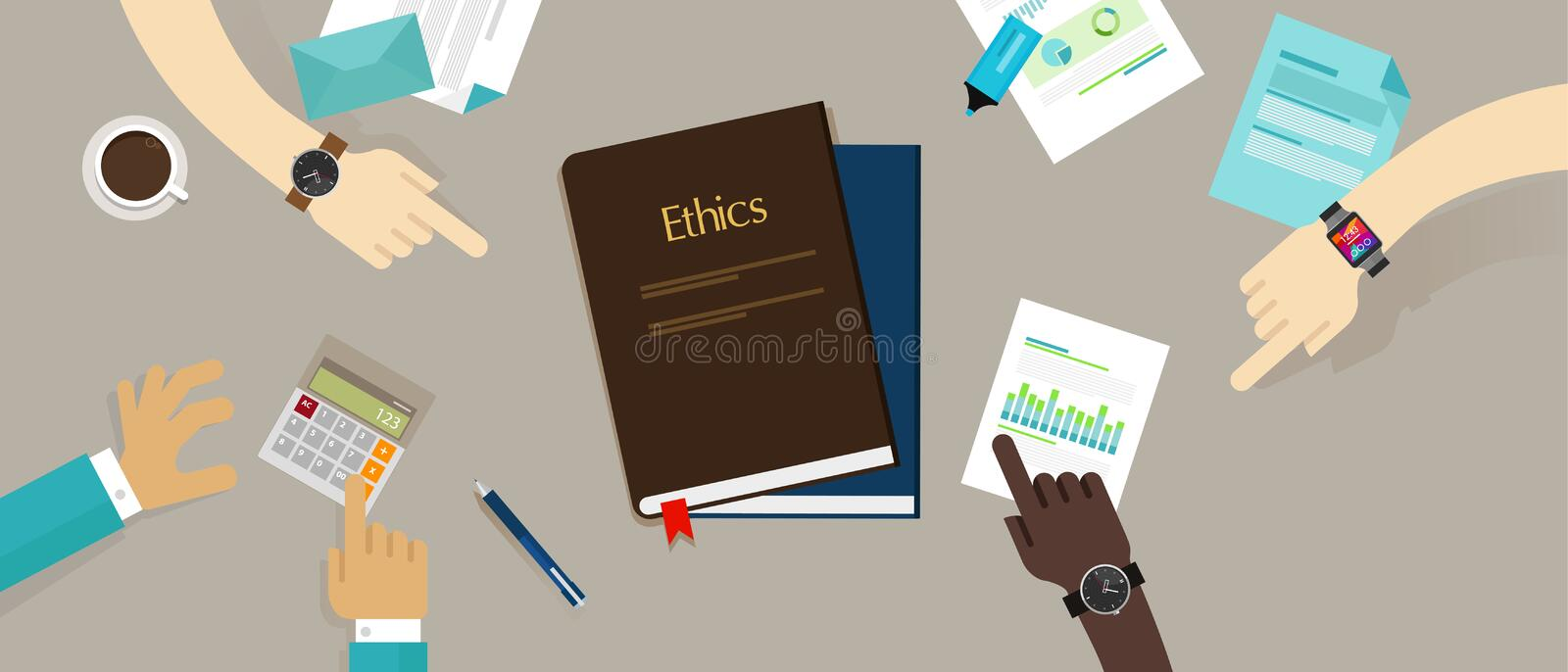 Business ethic ethical company corporate concept. Vector stock illustration