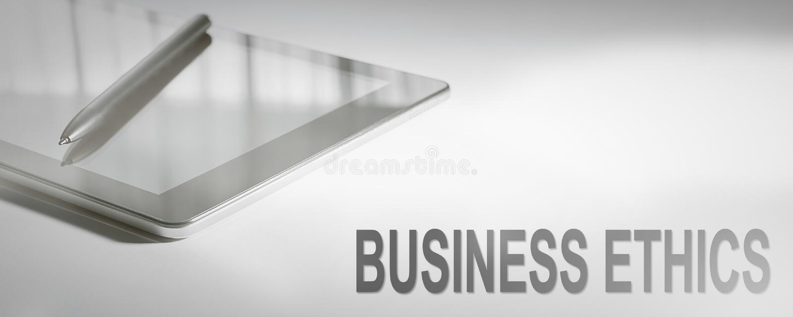 BUSINESS ETHICS Business Concept Digital Technology. Graphic Con stock image