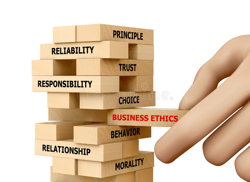 BUSINESS ETHICS. Businessman Building BUSINESS ETHICS Concept with Wooden Blocks 3d rendering stock photos
