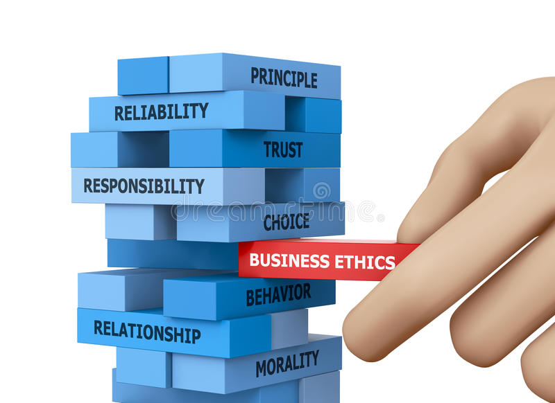 BUSINESS ETHICS. Businessman Building BUSINESS ETHICS Concept with Wooden Blocks 3d rendering royalty free stock photos