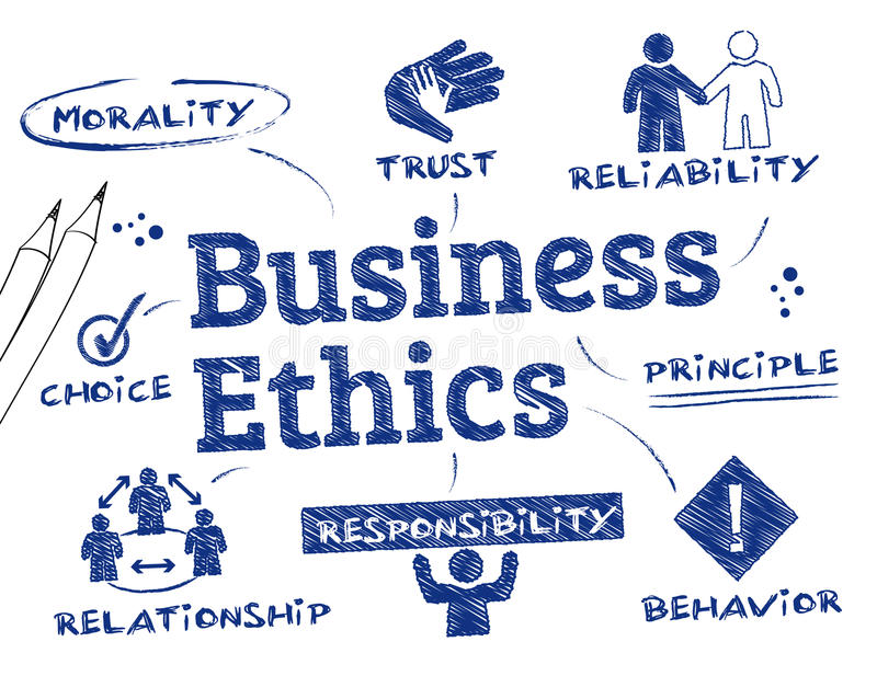 Business Ethics. Chart with keywords and icons royalty free illustration