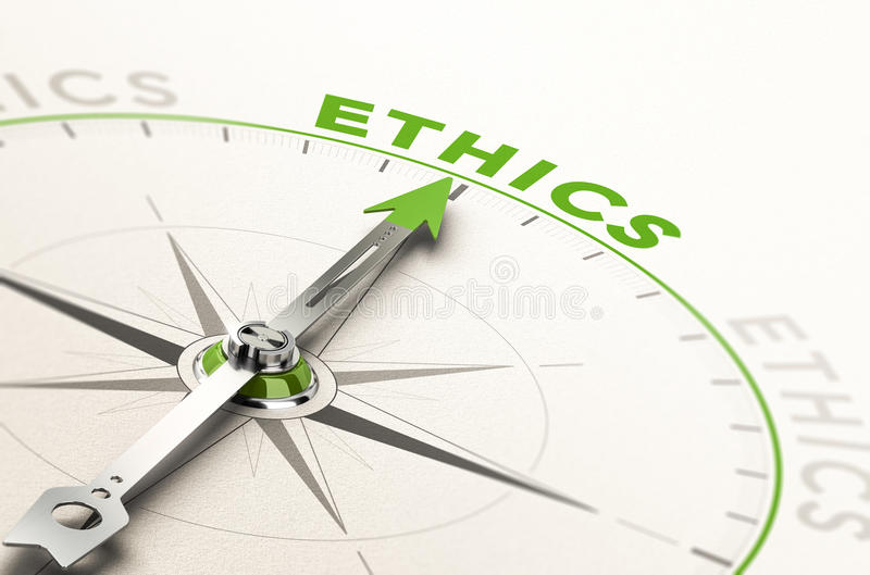 Business Ethics. Compass with needle pointing the word ethics. Conceptual 3d illustration of business integrity and moral royalty free illustration