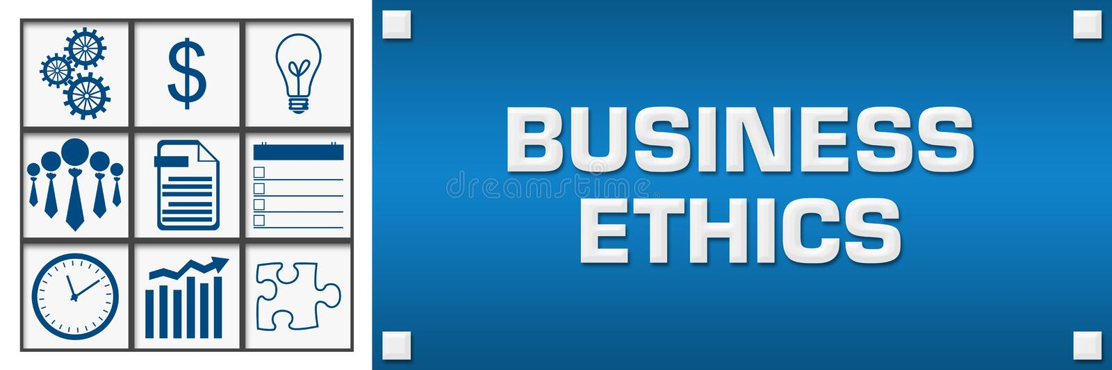 Business Ethics Business Symbols Grid Left. Business ethics concept image with text and related symbols royalty free illustration