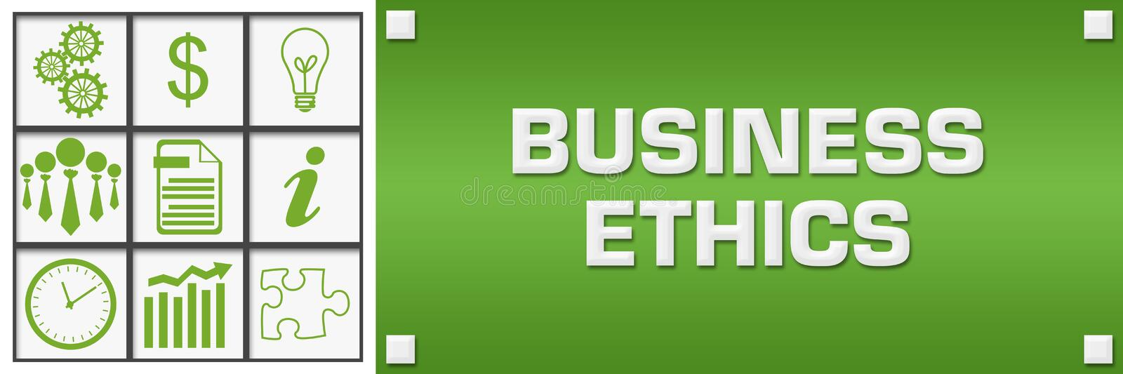 Business Ethics Green Business Symbols Grid Left. Business ethics concept image with text and related symbols vector illustration