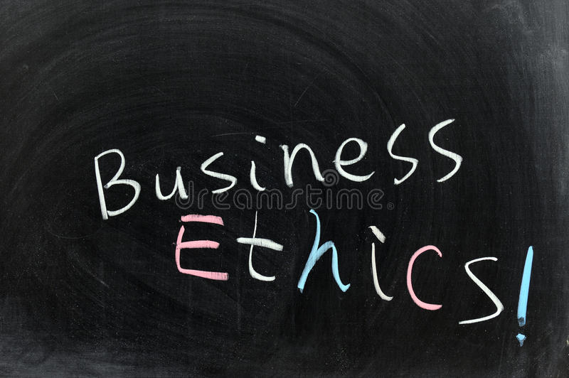 Business ethics. Conceptional chalk drawing - Business ethics royalty free stock photography