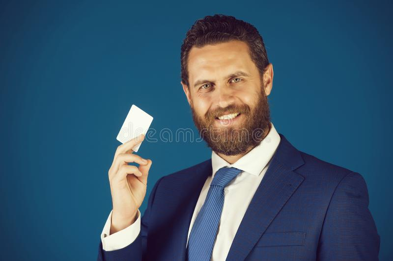 Business ethics, credit and savings, card in hand of man stock photos