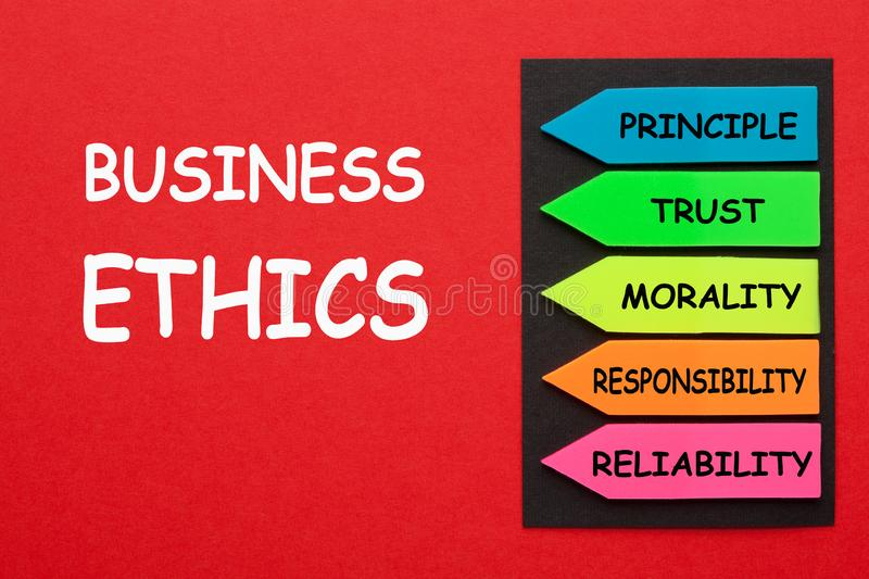 Business Ethics Diagram. Business Ethics and arrows with conceptual words written on red background. Business concept royalty free stock photography