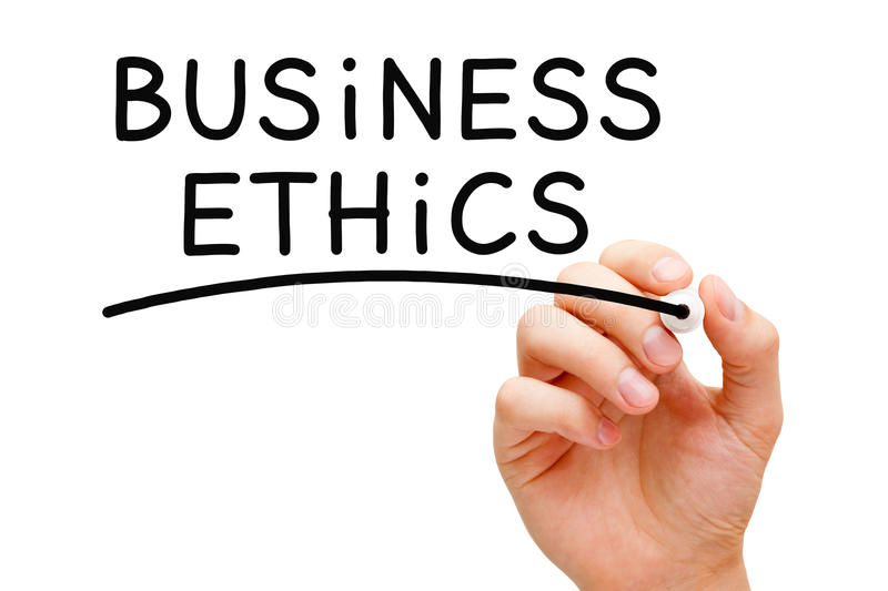 Business Ethics. Hand writing Business Ethics with black marker on transparent wipe board royalty free stock photography