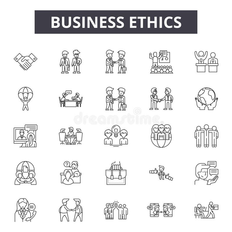 Business ethics line icons, signs, vector set, outline illustration concept vector illustration