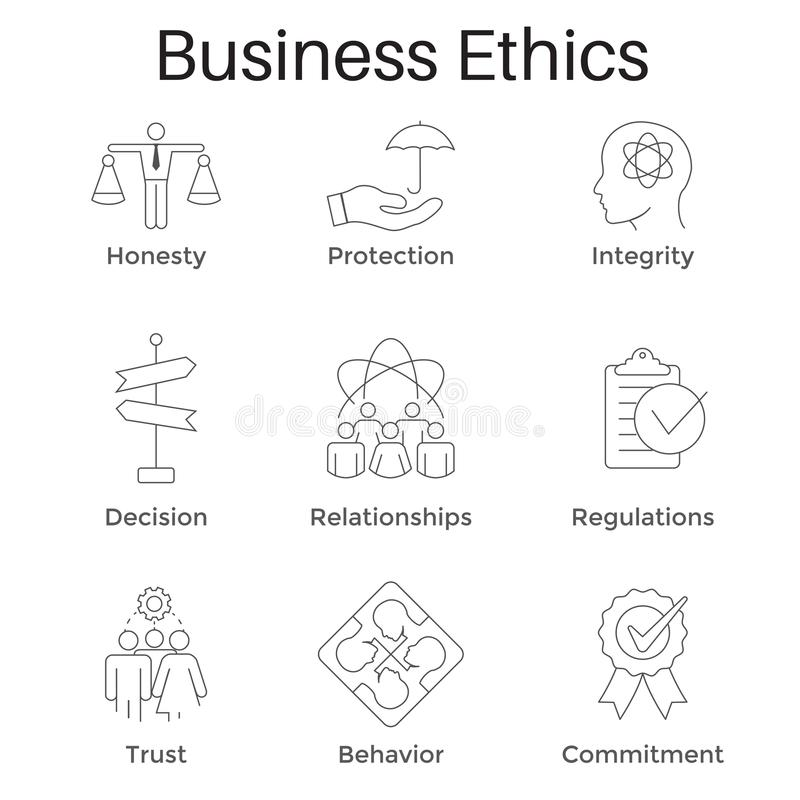 Business Ethics Outline Icon Set w Honesty, Integrity, Commitment, & Decision vector illustration