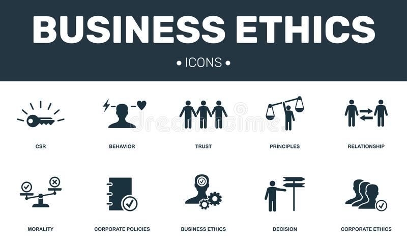 Business Ethics set icons collection. Includes simple elements such as CSR, Behavior, Trust, Principles and Morality stock illustration