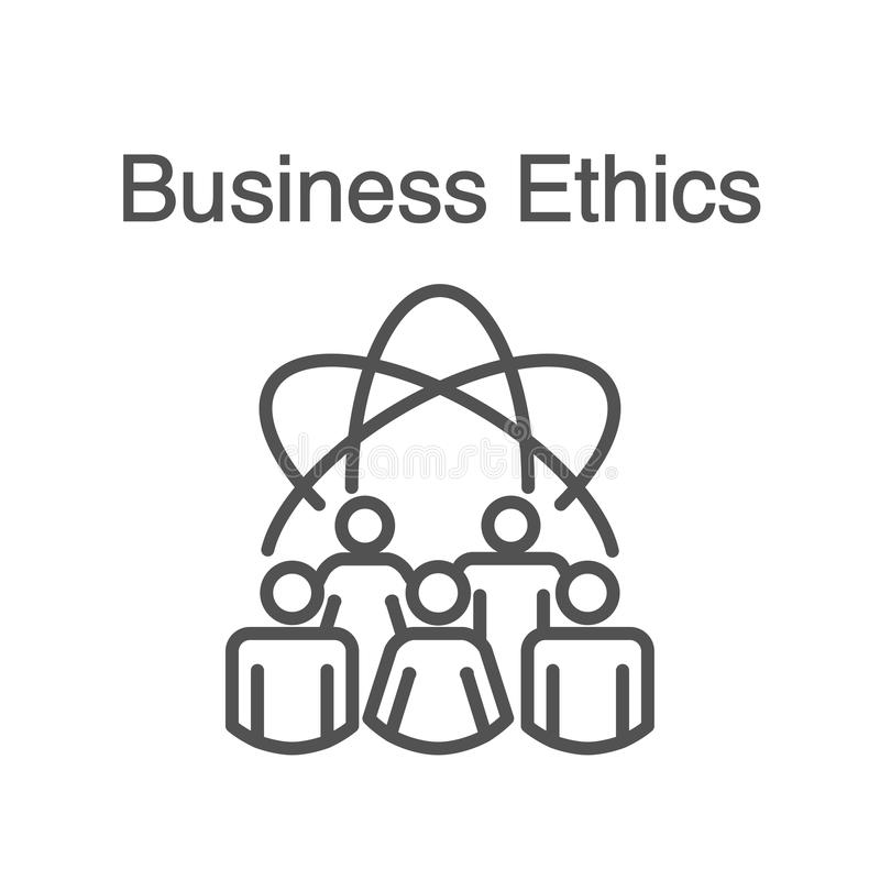 Business Ethics Solid Icon with people sharing ideas vector illustration