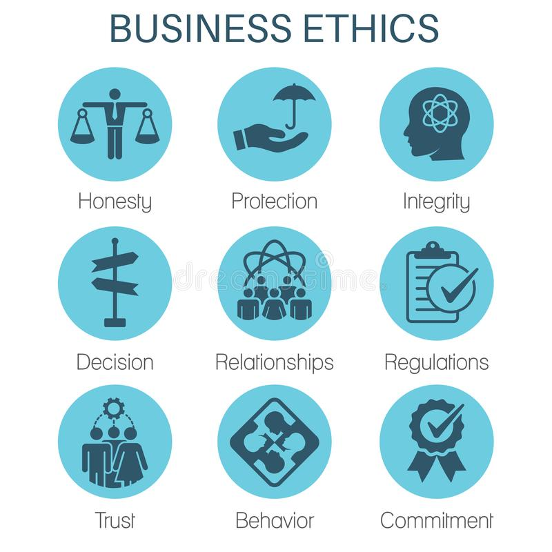 Business Ethics Solid Icon Set with Honesty, Integrity, Commitment, and Decision stock illustration