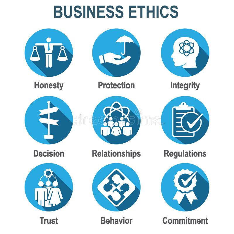 Business Ethics Solid Icon Set With Honesty Integrity Commitme