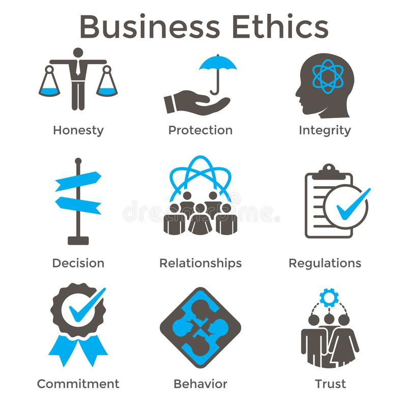 Business Ethics Solid Icon Set with Honesty, Integrity, Commitment, and Decision royalty free illustration