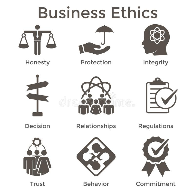 Business Ethics Solid Icon Set with Honesty, Integrity, Commitment, and Decision vector illustration