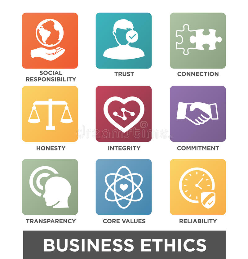 Business Ethics Solid Icon Set vector illustration