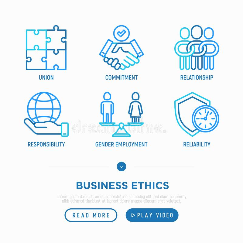 Free Business Ethics Thin Line Icons Set: Union, Commitment, Relationship, Responsibility, Gender Employment, Reliability. Vector Royalty Free Stock Images - 191606329