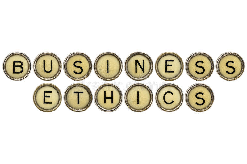 Business ethics in typewriter keys royalty free stock photography