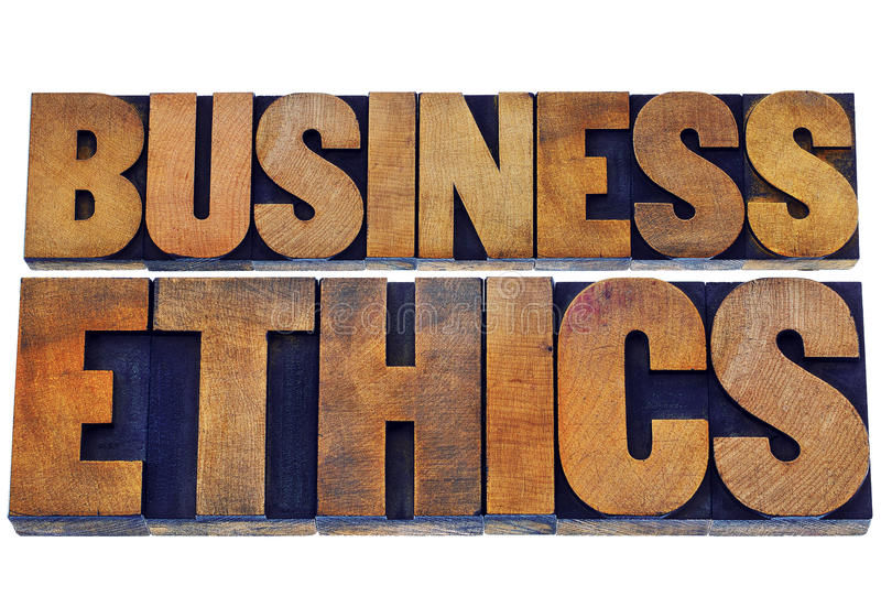 Business ethics in wood type royalty free stock photo