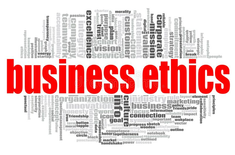 Business Ethics word cloud. Concept on white background, 3d rendering vector illustration