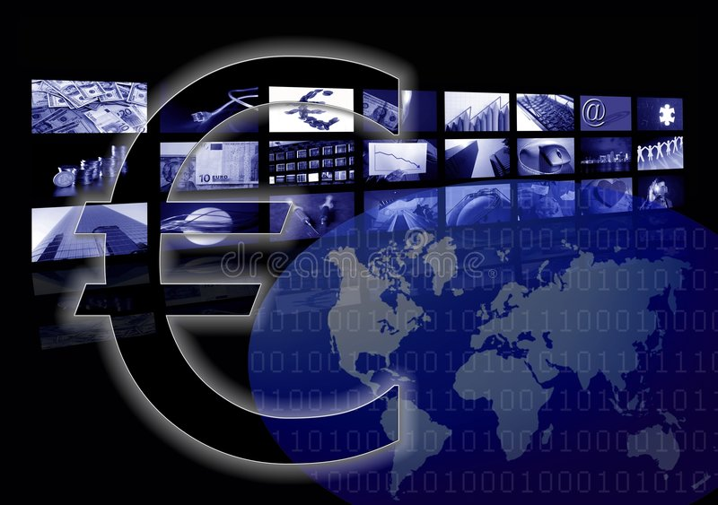 Business Euro sign, world map, multiple screen stock photo