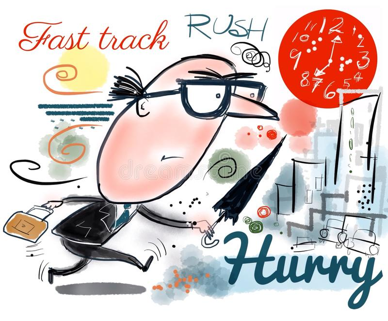 Business executive cartoon showing man running to beat deadlines royalty free stock images