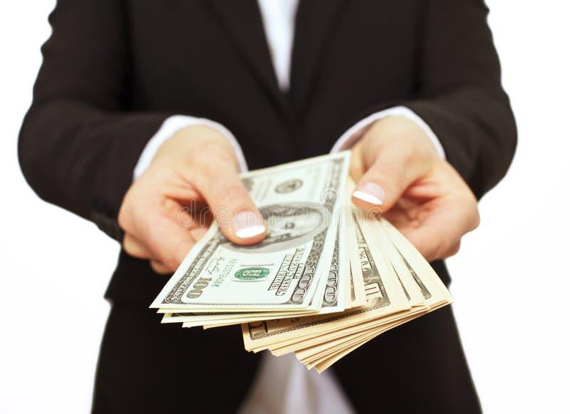 Business Executive Giving Bribe Money stock photos