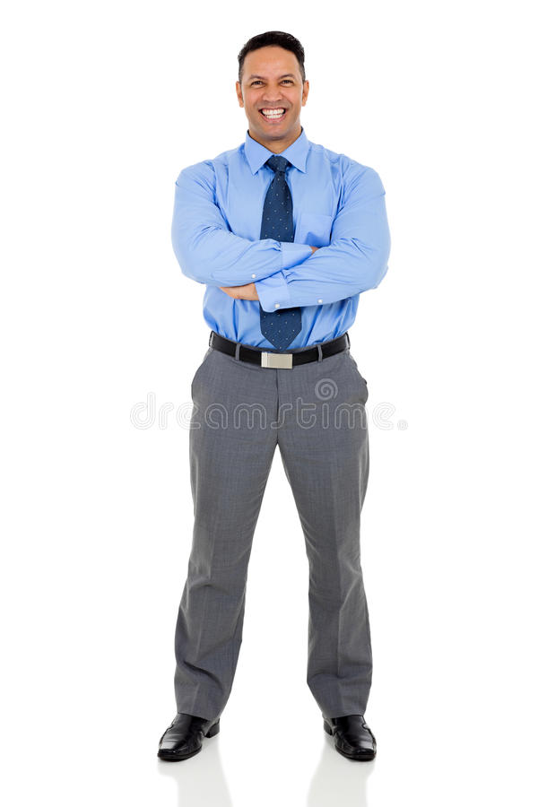 Business executive posing. Successful mid age business executive posing on white background stock photo