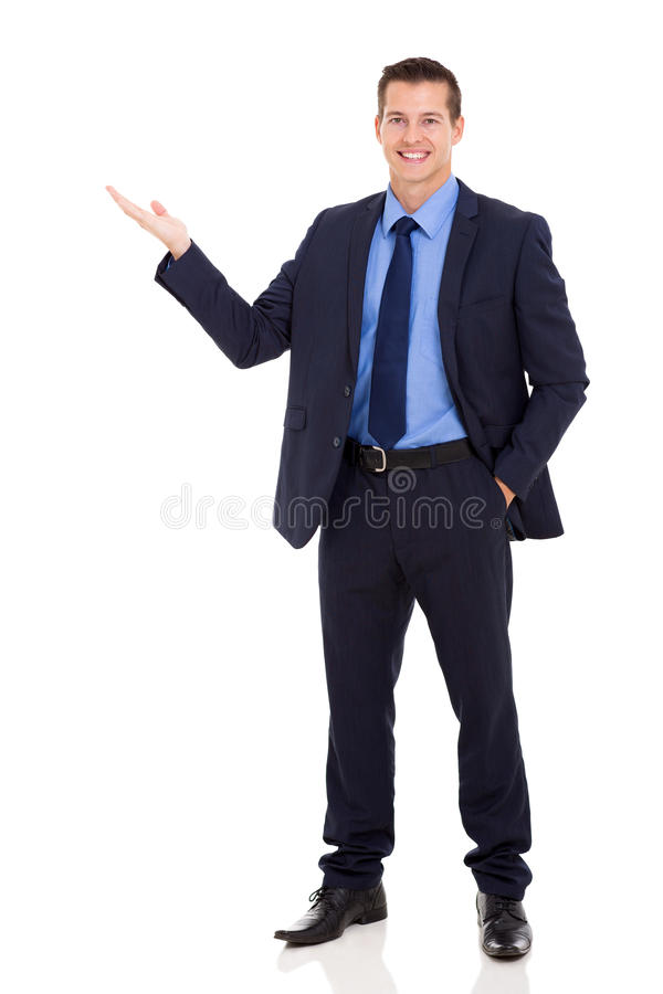 Business executive presenting stock images