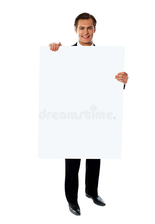 Business executive promoting big blank banner ad