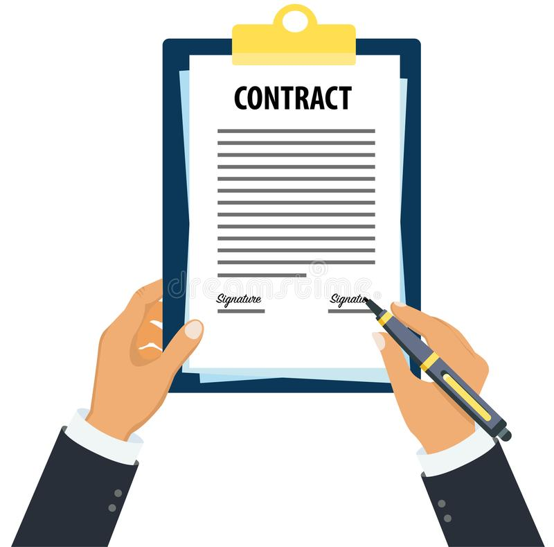 Executive signing contract document concept stock illustration