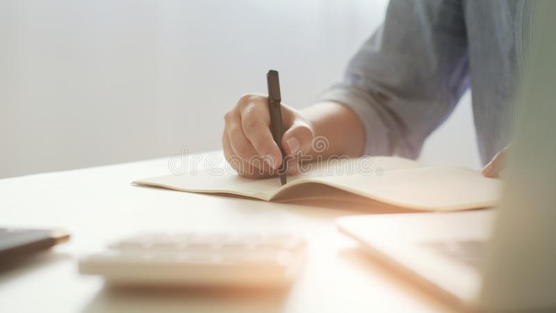 Business executive start up analyzing a valuation investment documents royalty free stock photos