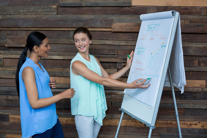 Business executives discussing over white board royalty free stock photography