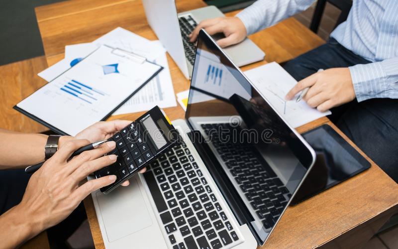 Business Executives Marketing Analysis sales performance Team, teamwork meeting Concept royalty free stock photo