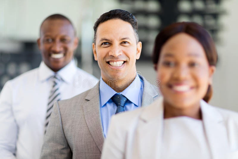 Business executives standing. Group of happy business executives standing in a row royalty free stock image