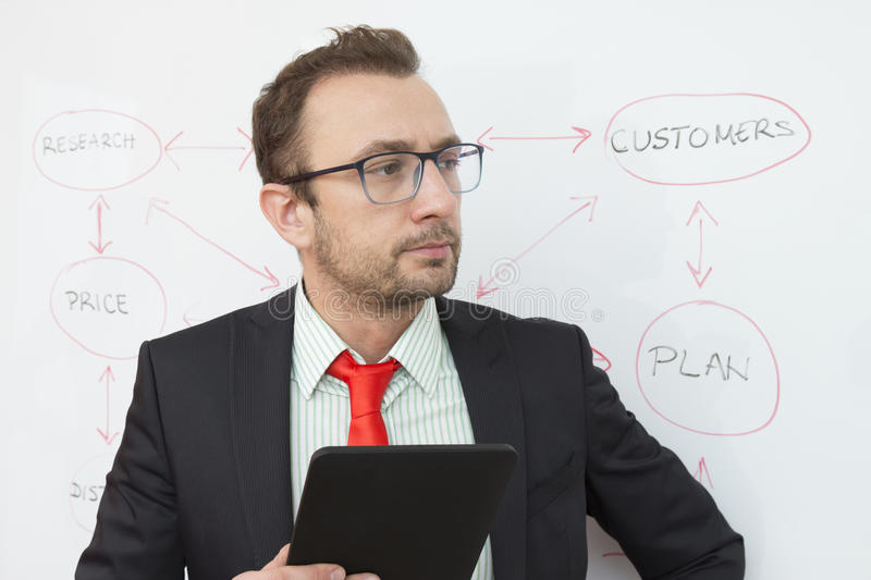 Business expert holding digital tablet device. Flowchart in the background. Handsome and confident businessman holding digital tablet device. Flowchart on the stock images