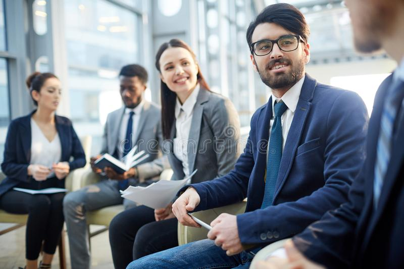 Business experts sharing strategy implementation stock photo