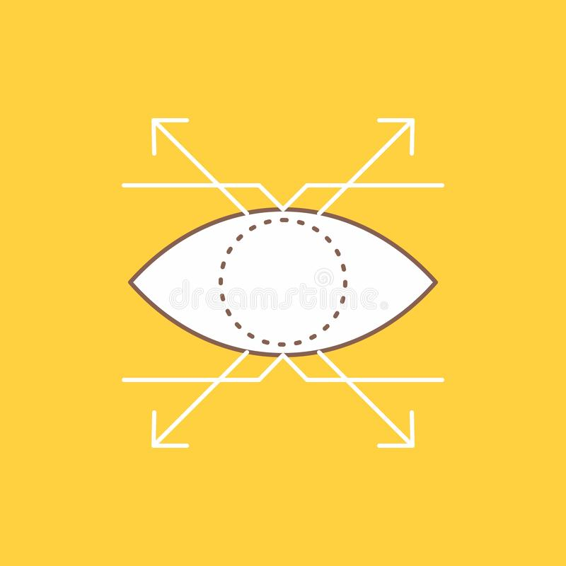 Business, eye, look, vision Flat Line Filled Icon. Beautiful Logo button over yellow background for UI and UX, website or mobile vector illustration