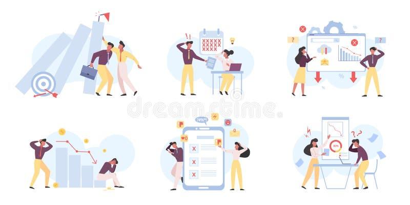 Business fail color flat vector illustrations set royalty free illustration