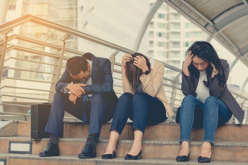 Business fail concept : businessman stressed sitting ,problem li royalty free stock photos