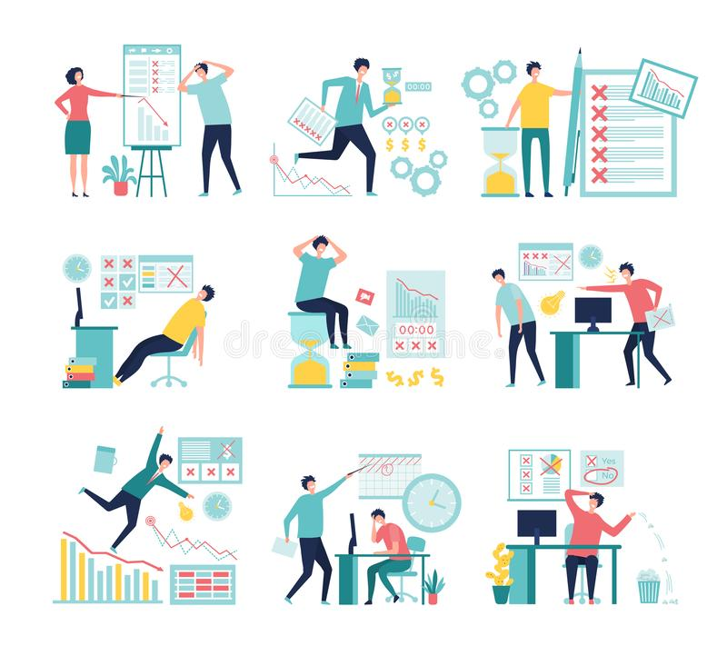 Business fail. Lossing managers bad management processes failed paperwork low graphs and indicators vector concept royalty free illustration