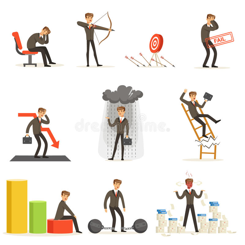 Business Fail And Manager Suffering Loss And Being In Debt Set Of Buncrupcy And Company Failure Vector Illustrations stock illustration
