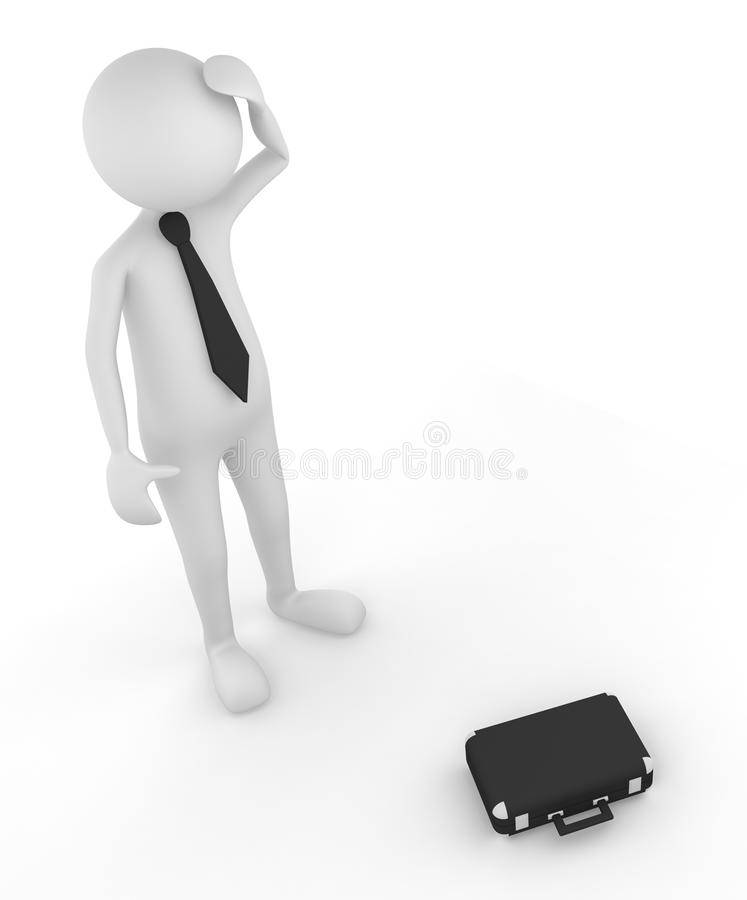 Business failure. 3D man depicting the episode of failure; great for business concept and reality stock illustration