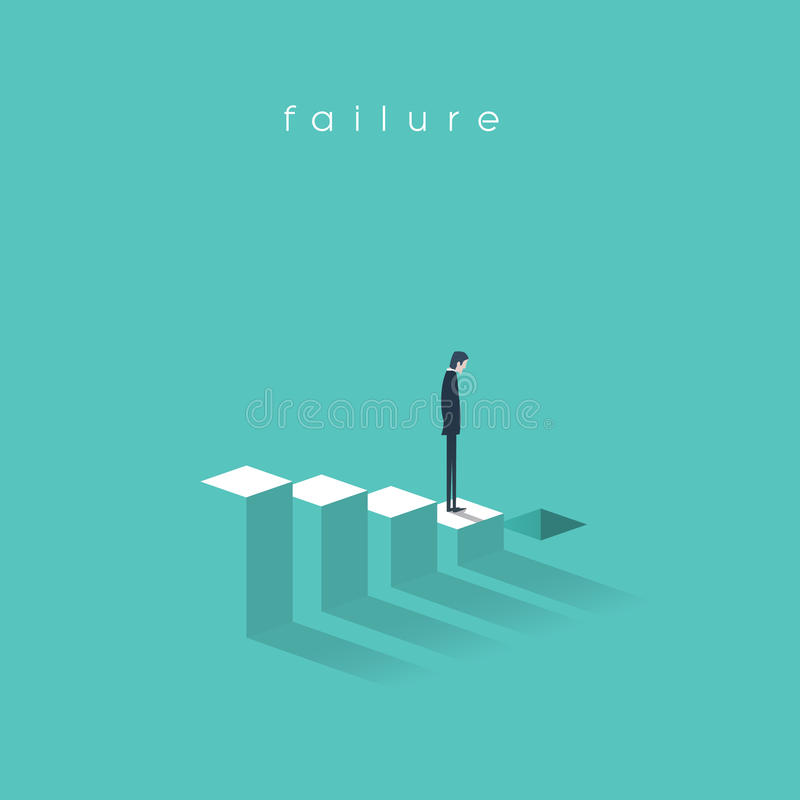 Business failure and bakruptcy vector illustration concept. Businessman on steps leading to stock market crash, crisis. Recession, decline. Eps10 vector stock illustration
